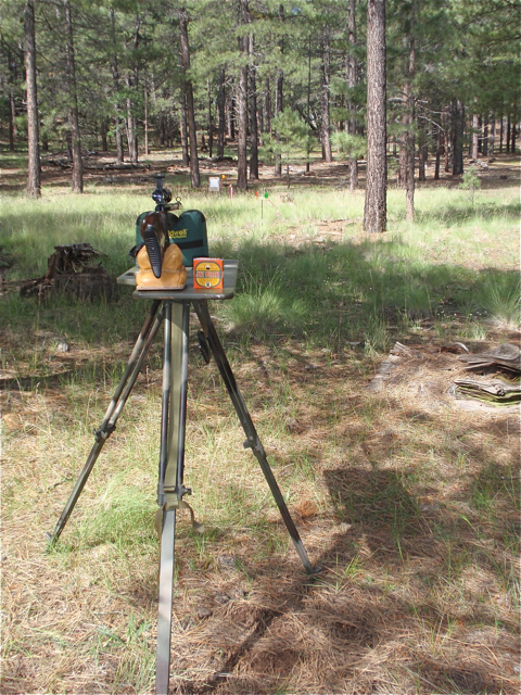 FWB 300S on stand for sight-in w:Jet Pellets