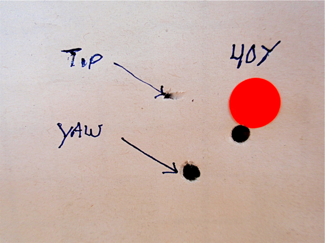 Forty yard hole showing yaw and pellet tip